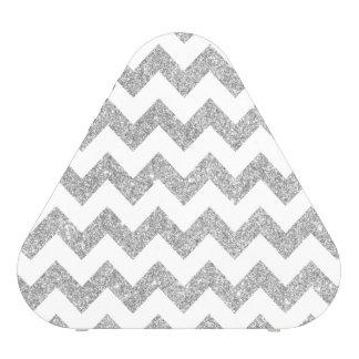 Silver Glitter Zigzag Stripes Chevron Pattern Blueooth Speaker