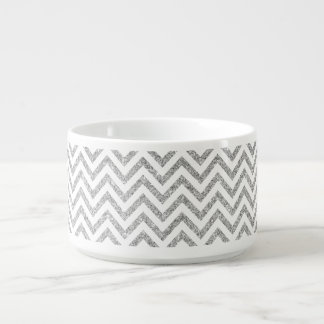 Silver Glitter Zigzag Stripes Chevron Pattern Bowl