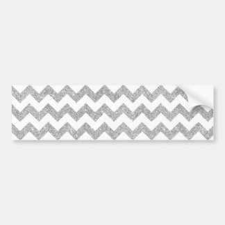 Silver Glitter Zigzag Stripes Chevron Pattern Bumper Sticker