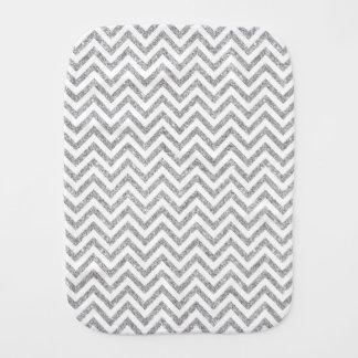 Silver Glitter Zigzag Stripes Chevron Pattern Burp Cloths