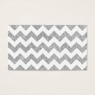 Silver Glitter Zigzag Stripes Chevron Pattern Business Card