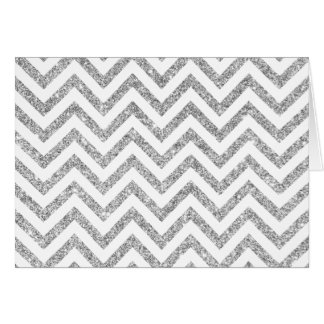 Silver Glitter Zigzag Stripes Chevron Pattern Card
