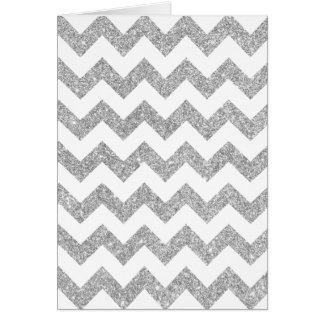 Silver Glitter Zigzag Stripes Chevron Pattern Card