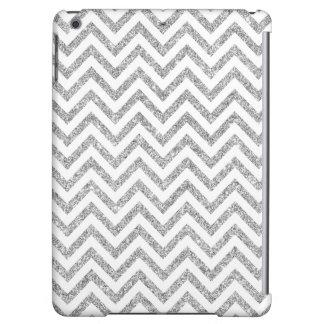 Silver Glitter Zigzag Stripes Chevron Pattern Case For iPad Air