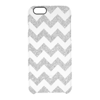 Silver Glitter Zigzag Stripes Chevron Pattern Clear iPhone 6/6S Case