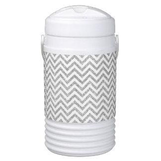Silver Glitter Zigzag Stripes Chevron Pattern Cooler