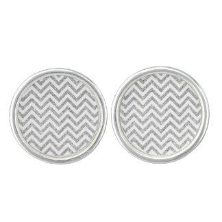 Silver Glitter Zigzag Stripes Chevron Pattern Cufflinks