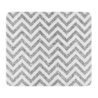 Silver Glitter Zigzag Stripes Chevron Pattern Cutting Board