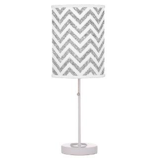 Silver Glitter Zigzag Stripes Chevron Pattern Desk Lamp