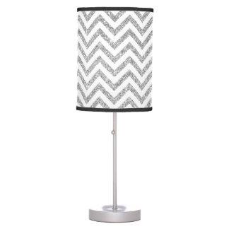 Silver Glitter Zigzag Stripes Chevron Pattern Desk Lamps