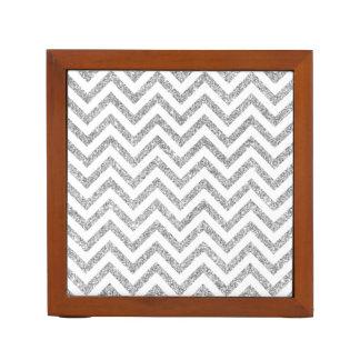 Silver Glitter Zigzag Stripes Chevron Pattern Desk Organizer