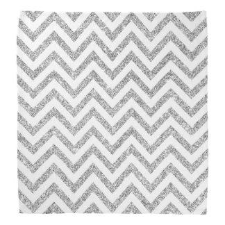 Silver Glitter Zigzag Stripes Chevron Pattern Do-rags