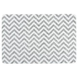 Silver Glitter Zigzag Stripes Chevron Pattern Floor Mat