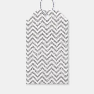 Silver Glitter Zigzag Stripes Chevron Pattern Gift Tags
