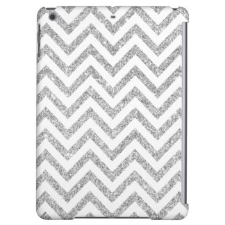 Silver Glitter Zigzag Stripes Chevron Pattern iPad Air Case