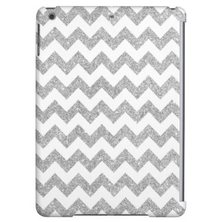 Silver Glitter Zigzag Stripes Chevron Pattern iPad Air Covers