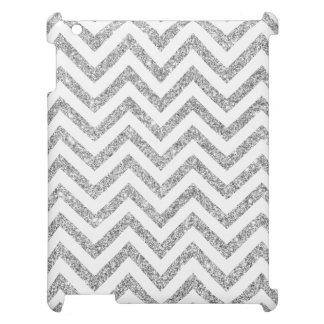 Silver Glitter Zigzag Stripes Chevron Pattern iPad Case