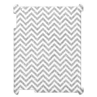 Silver Glitter Zigzag Stripes Chevron Pattern iPad Cases
