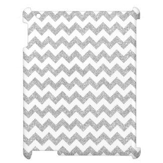 Silver Glitter Zigzag Stripes Chevron Pattern iPad Cover