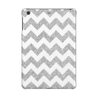 Silver Glitter Zigzag Stripes Chevron Pattern iPad Mini Cover