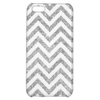 Silver Glitter Zigzag Stripes Chevron Pattern iPhone 5C Covers