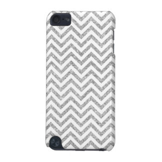 Silver Glitter Zigzag Stripes Chevron Pattern iPod Touch 5G Covers