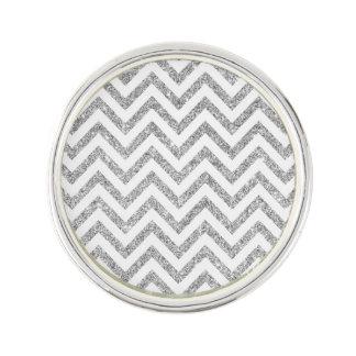 Silver Glitter Zigzag Stripes Chevron Pattern Lapel Pin