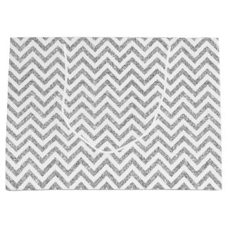 Silver Glitter Zigzag Stripes Chevron Pattern Large Gift Bag
