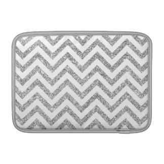 Silver Glitter Zigzag Stripes Chevron Pattern MacBook Air Sleeve