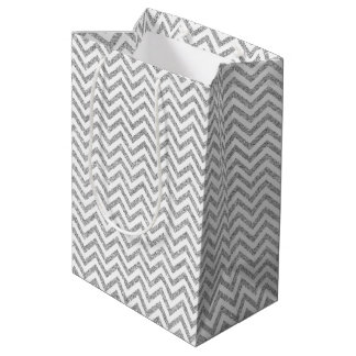 Silver Glitter Zigzag Stripes Chevron Pattern Medium Gift Bag