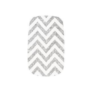 Silver Glitter Zigzag Stripes Chevron Pattern Minx Nail Art