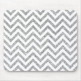 Silver Glitter Zigzag Stripes Chevron Pattern Mouse Pad