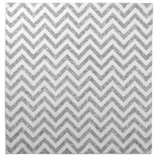 Silver Glitter Zigzag Stripes Chevron Pattern Napkin