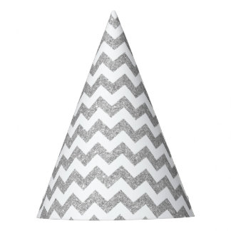 Silver Glitter Zigzag Stripes Chevron Pattern Party Hat