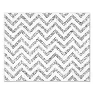 Silver Glitter Zigzag Stripes Chevron Pattern Photo Print