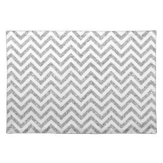 Silver Glitter Zigzag Stripes Chevron Pattern Placemat
