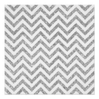 Silver Glitter Zigzag Stripes Chevron Pattern Poster