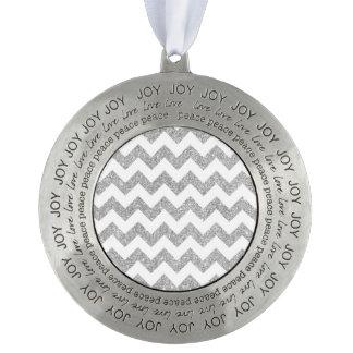 Silver Glitter Zigzag Stripes Chevron Pattern Round Pewter Ornament