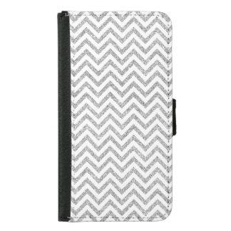 Silver Glitter Zigzag Stripes Chevron Pattern Samsung Galaxy S5 Wallet Case