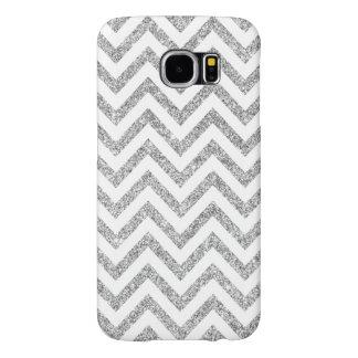 Silver Glitter Zigzag Stripes Chevron Pattern Samsung Galaxy S6 Cases