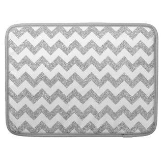 Silver Glitter Zigzag Stripes Chevron Pattern Sleeves For MacBook Pro