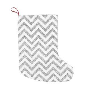 Silver Glitter Zigzag Stripes Chevron Pattern Small Christmas Stocking