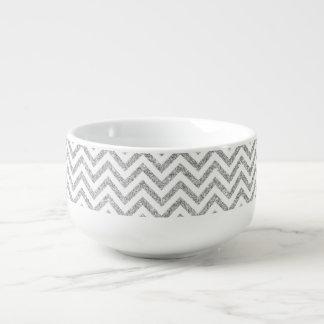 Silver Glitter Zigzag Stripes Chevron Pattern Soup Mug