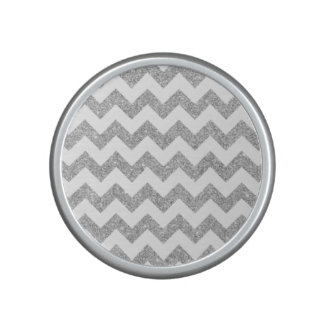 Silver Glitter Zigzag Stripes Chevron Pattern Speaker