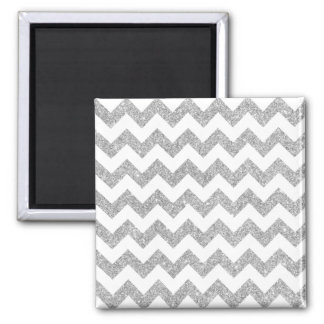 Silver Glitter Zigzag Stripes Chevron Pattern Square Magnet