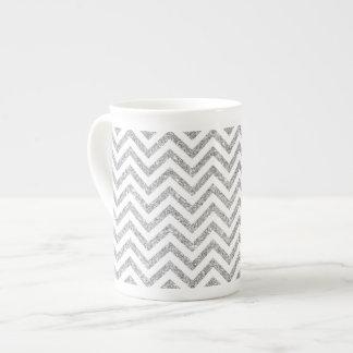 Silver Glitter Zigzag Stripes Chevron Pattern Tea Cup