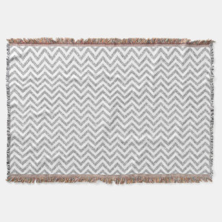 Silver Glitter Zigzag Stripes Chevron Pattern Throw