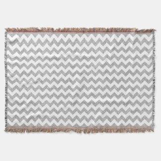 Silver Glitter Zigzag Stripes Chevron Pattern Throw Blanket