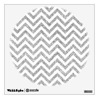 Silver Glitter Zigzag Stripes Chevron Pattern Wall Decal