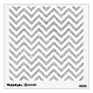 Silver Glitter Zigzag Stripes Chevron Pattern Wall Sticker